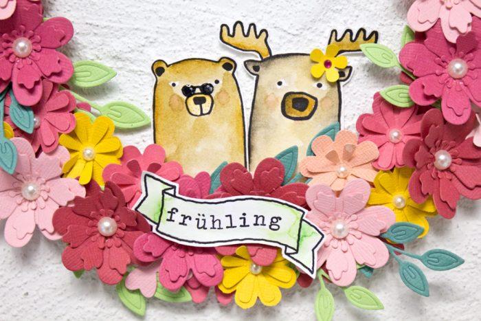 Frühlingskranz Klartextstempel Elch Bär