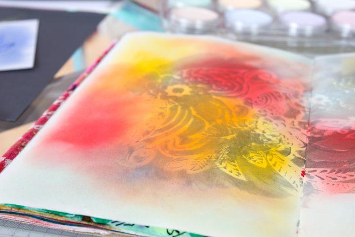 Mixed Media Hintergrund mit Pan Pastel