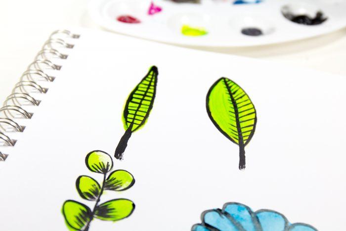 Doodles mit Acrylfarbe
